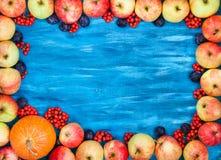 Autumn frame of apples, pumpkin, rowan on  painted blue wooden b Royalty Free Stock Photos