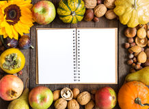 Autumn frame background with notebook Royalty Free Stock Photo