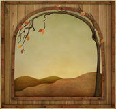 Autumn frame. Autumn background with  wooden textured vintage frame. Computer graphics Stock Photo