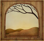 Autumn frame. Autumn background with  wooden textured vintage frame. Computer graphics Stock Image