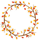 Autumn frame with branches of tree and yellow leaves. Seasonal illustration Royalty Free Stock Images
