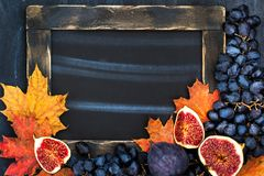Autumn frame with chalk board, leaves, figs and grape,  space fo Royalty Free Stock Photography