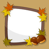 Autumn Frame with Chestnut & Leaves Stock Photos