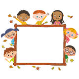 Autumn frame and children Stock Photo