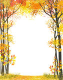 Autumn frame. Frame composition with autumn trees on white background. Vector illustration Stock Images