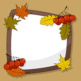 Autumn Frame with Cranberries & Leaves. Autumnal or fall photo frame with cranberries fruits and leaves in three different colors (green, yellow, orange) Stock Photo