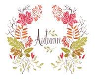 Autumn Frame des feuilles et des brindilles Images stock