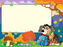 Autumn frame with dog and schoolbag Stock Photos