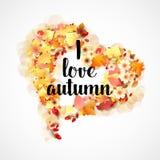 Autumn Frame en la forma del corazón Fotos de archivo