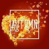 Autumn Frame en la forma del corazón Foto de archivo libre de regalías