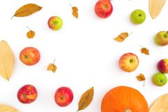 Autumn frame with fall dried leaves, apples and pumpkin on white background. Flat lay, top view Stock Photos