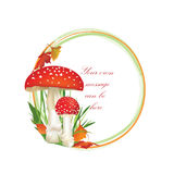 Autumn frame with fall leaves and mushroom isolated on white background. Royalty Free Stock Photography