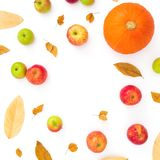 Autumn frame of fall leaves, pine cones, apples and pumpkin on white background. Thanksgiving day. Flat lay, top view. Autumn frame of fall leaves, pine cones stock photography