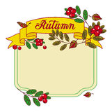 Autumn  frame with free space for text. Autumn forest background with mushrooms, cranberries and artistic written word 'Autumn'. Raster frame with free space Stock Photos