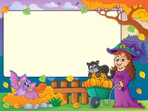 Autumn frame with Halloween theme 1 Royalty Free Stock Images