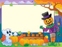 Autumn frame with Halloween theme 4 Stock Photos
