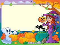 Autumn frame with Halloween theme 6 Royalty Free Stock Photo