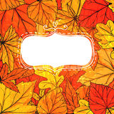 Autumn frame with hand drawn golden leaves. Vector Royalty Free Stock Photo