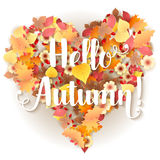 Autumn Frame In Shape Of Heart Stock Photo