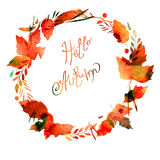 Autumn frame with leaves, berries, branches, autumn elements. Caption Hello autumn. watercolor texture brown, ocher, red, orange. Royalty Free Stock Image