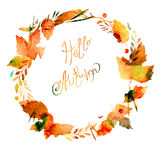 Autumn frame with leaves, berries, branches, autumn elements. Caption Hello autumn. watercolor texture yellow, brown, ocher, red, Royalty Free Stock Photography