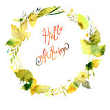 Autumn frame with leaves, berries, branches, autumn elements. Caption Hello autumn. watercolor texture yellow, green, brown, ocher Royalty Free Stock Image