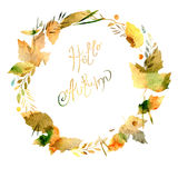 Autumn frame with leaves, berries, branches Royalty Free Stock Images