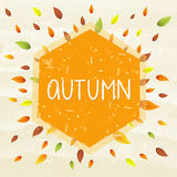 Autumn in frame with leaves, drawn banner Royalty Free Stock Image