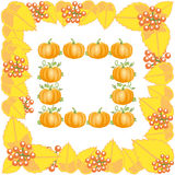 Autumn frame with leaves and pumpkin Royalty Free Stock Image