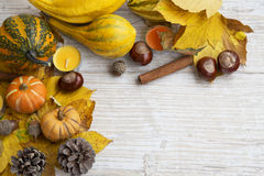 Autumn Frame with Leaves,Pumpkins, Cinnnamon, Chestnuts,Candles Royalty Free Stock Photography