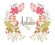 Autumn Frame of leaves and twigs. Design card royalty free illustration
