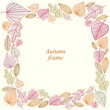 Autumn frame made of leaves. Royalty Free Stock Image