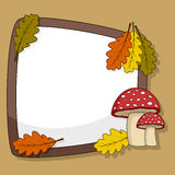 Autumn Frame with Mushroom & Leaves Royalty Free Stock Photos