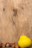 Autumn frame on old wooden background with pumpkins Royalty Free Stock Photography