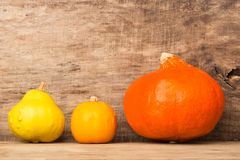 Autumn frame on old wooden background with three pumpkins Royalty Free Stock Image
