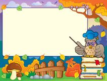 Autumn frame with owl teacher 1 Stock Image