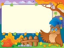 Autumn frame with owl teacher 2 Royalty Free Stock Photo