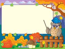 Autumn frame with owl teacher 3 Stock Photos