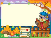 Autumn frame with owl teacher 4 Stock Images