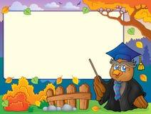 Autumn frame with owl teacher 5 Royalty Free Stock Image