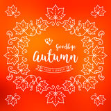 Autumn frame, poster, card, Fall leaves background. Handwritten modern lettering Royalty Free Stock Images