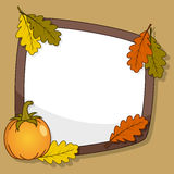 Autumn Frame with Pumpkin & Leaves Royalty Free Stock Photos