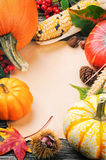 Autumn frame with pumpkins, corn and leaves Stock Images