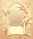 Autumn frame with a scroll on grunge background Stock Images