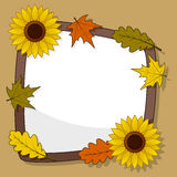 Autumn Frame with Sunflower & Leaves Royalty Free Stock Photo