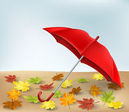 Autumn frame with umbrella and leaves eps10 Royalty Free Stock Photography