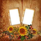 Autumn frame on wooden background Stock Image
