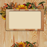 autumn frame on wooden background Royalty Free Stock Images