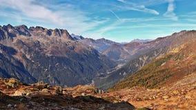 Autumn in the French Alps. Chamonix Mont-Blanc Valley, Haute-Savoie, France. stock photo