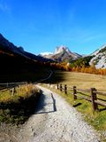 Autumn in the French Alps. Overview of Mount Thabor surrounded by woods in autumn, France Royalty Free Stock Photography
